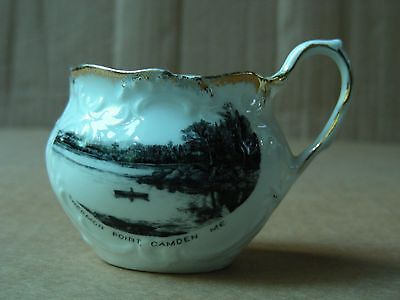 """shermon Point Camden Maine"" Porcelain Souvenir Sugar Bowl"