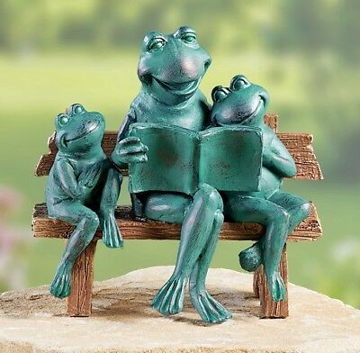 Toad Frog Family on Bench Verdigris Figurine Garden Statue Yard Lawn Home Decor