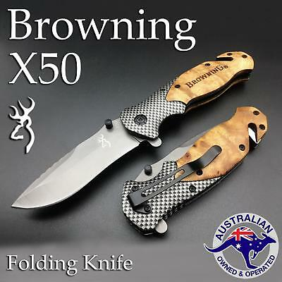 Folding Opening Pocket Cutting Handy Survival Camping Blade BROWNING X50 Knife