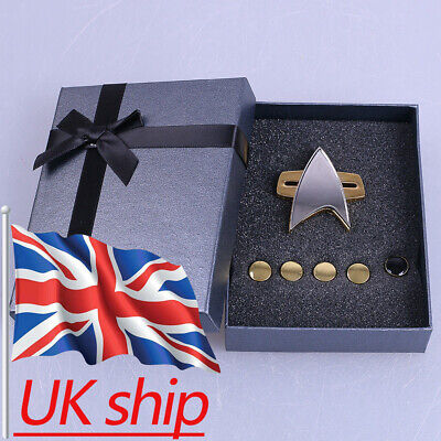 Star Trek Badge Voyager Communicator Pin Brooch & Rank Pips Prop Set Of 6 New