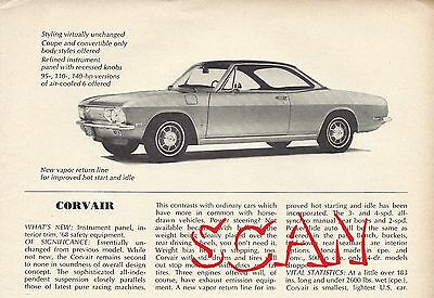 1968 Chevrolet Corvair Coupe Vintage Magazine Article Ad Chevy