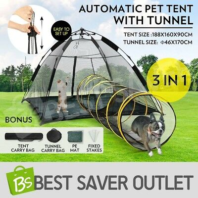 Auto Pop-up Puppy Pet Dog Cat Tent Outdoor Portable Play Fun House With Tunnel