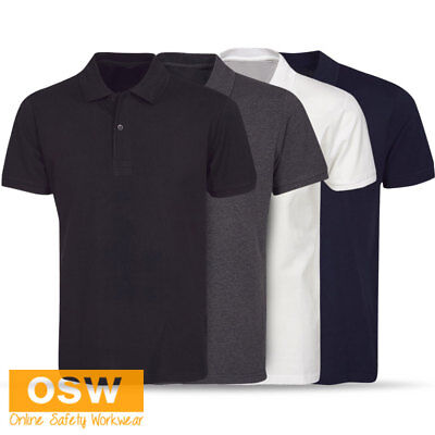 Unisex Light Weight Cotton Office Work Fit Polo - Black/Navy/Charcoal/White