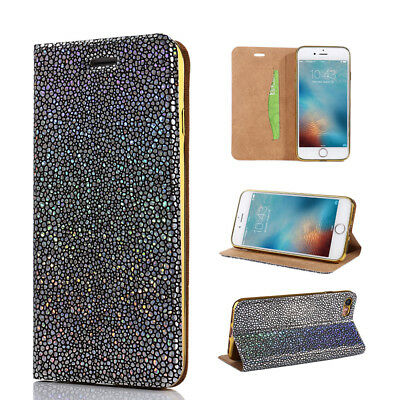 Glitter Magnetic PU Leather Wallet Flip Case Cover Stand Slim For iPhone Samsung