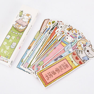 30pcs/pack Cute Reading Cats Bookmark Paper Kawaii Stationery Cartoon Bookmark