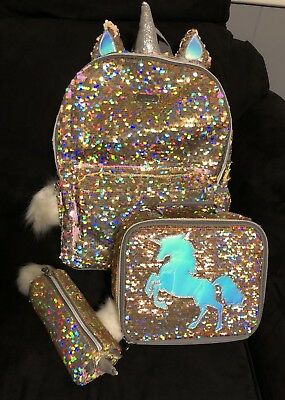 Justice Girls Gold Unicorn Sequin Backpack, Lunch Tote Bag Pencil Pouch