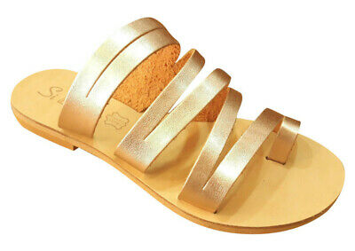 ANCIENT GREEK Style Womens Sandals Leather Handmade Gladiator Roman Shoes Slide