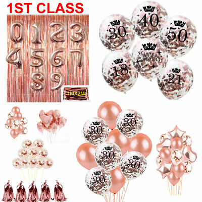 Rose Gold Happy Birthday Bunting Banner Balloons 1st/18/21st/30/40/50/60th Party