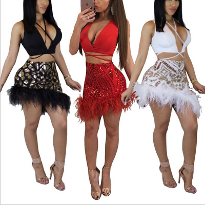 Sexy Women's Sequin Ostrich Feather Crop Top and Skirt Set Clubwear Party Dress