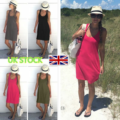 UK Women's Sleeveless Casual Sundress Summer Holiday Beach Short Mini Vest Dress