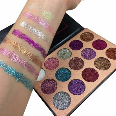 US 15 Colors Diamond Glitter Rainbow EyeShadow Make Up Cosmetic Pressed Palette