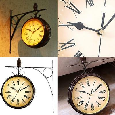 Vintage Paddington Outdoor Wall Clock Station Steel Garden Double Sided Clock
