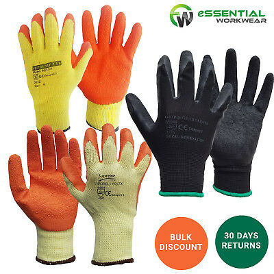120 PAIRS Latex Coated Rubber Safety Work Grip Gloves Mens Builders Gardening