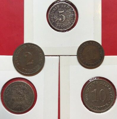 German Empire Coins (5 Coins, From 1 Pfennig To 0.5 Mark, Including 1 Silver)