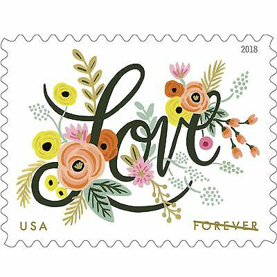 Love Flourishes 5 Sheets of 20 USPS First Class Forever Postage Stamps Wedding