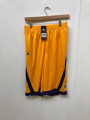 ADIDAS LA LAKERS Basketball Kids Club Shorts Various Sizes Yellow New