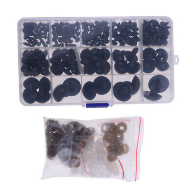 154pcs 6-24mm Safety Eyes For Bear Doll Snap Animal Puppet Toys Crafts Black