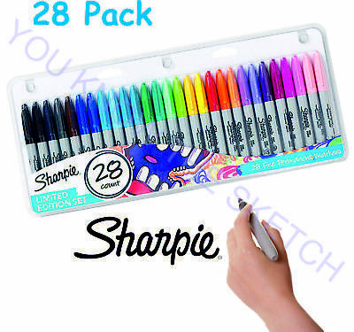 SHARPIE 28 Pack Fine Permanent Markers Pens Work School Limited Edition Set