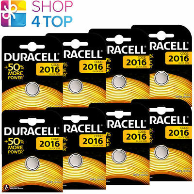 8 Duracell Cr2016 Lithium Batteries 3V Coin Cell Dl2016 Ecr2016 Exp 2027 New