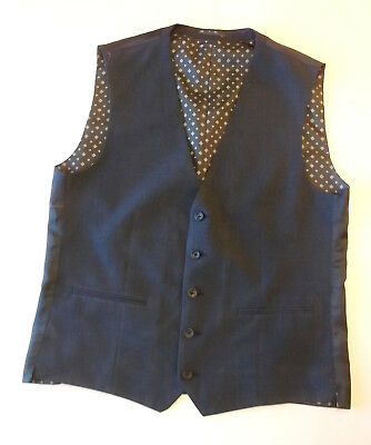 Mens Formal waistcoat NEXT Size 42L Blue with patterned Lining SBW4