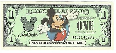 Disney Dollars 2003 $1 Mickey (two hands in air) MINT   D