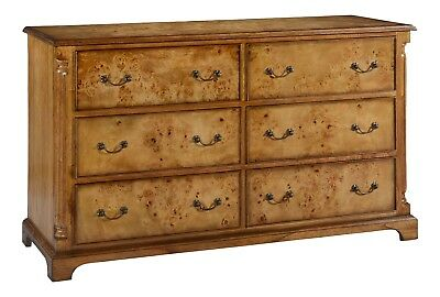 Hampton Burr Walnut Low Wide Chest of 6 Drawers Antique Reproduction NEW CHTW003