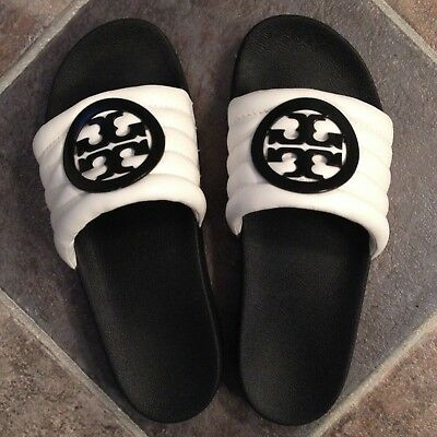 2aa1603a42f TORY BURCH LINA Quilted Logo Slide Sandal size 10 EUC -  119.00 ...