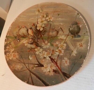 Antique Terra Cotta Plate - hand painted Birds amongst flowers