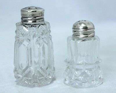 2 Antique Cut Crystal/Sterling Silver Salt & Pepper Shakers