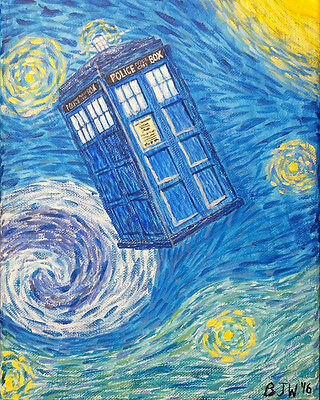 Tardis Starry Night space acrylic painting Print blue yellow 8 x 10 inches