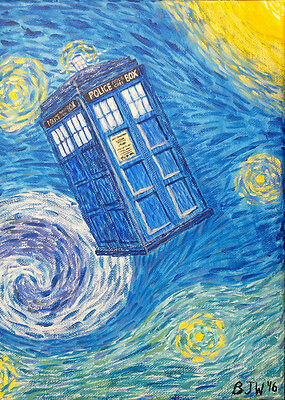 Tardis Starry Night space acrylic painting Print blue yellow 5 x 7 inches