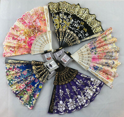 Beautiful Folding Ladies Hand Fan Victorian Civil War Fabric Sequins Glitter