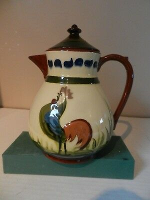 Green  Devon Pottery Motto Ware Longpark   Coloured Cockerel Coffee Pot