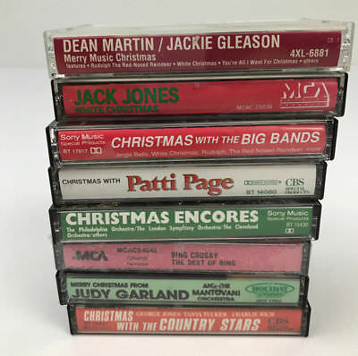 Lot of 8 Audio Cassette Tapes Mixed Artists Christmas Bing Crosby Dean Martin