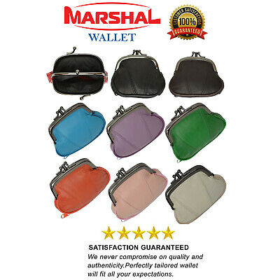 Genuine Leather Women's Small Coin Purse Change Holder Double Clasp Color Choice