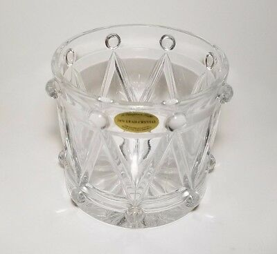 Lead Crystal Drum Candy Dish Art Glass