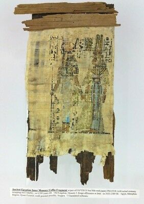 Ancient Egyptian Inner Mummy Coffin Fragment Papyrus BC Antique with Hieroglyphs