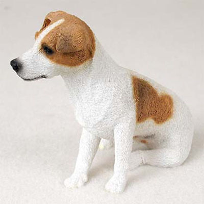 Jack Russell Figurine Hand Painted Collectible Statue Brown/Wht Smooth