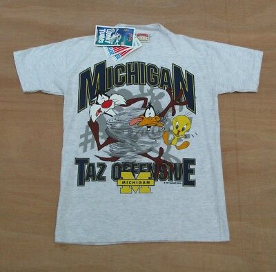 Vtg 90's Michigan Wolverines x Looney Tunes Oversized T-Shirt - Size 7-8 Yrs