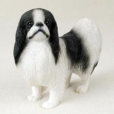 Japanese Chin Figurine Hand Painted Statue Black