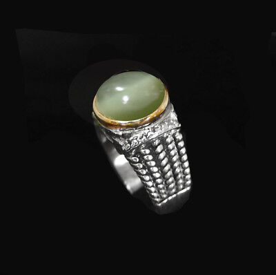 Antique Style Ring with Jade Cat's Eye Natural Gemstone Handmade Unisex