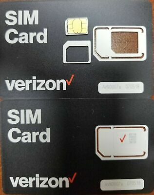 NEW VERIZON NANO 4FF SIMCard • CDMA 4GLTE •  Genuine OEM •  Prepaid or Contract