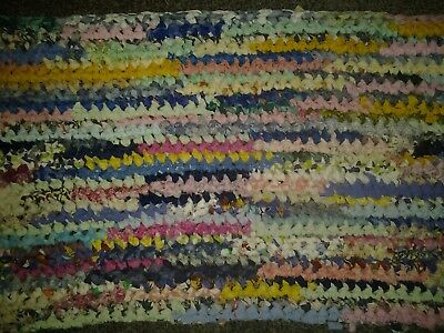 "Vtg HOME MADE OLD FASHION CROCHETED rect. RAG RUG MULTI approx. 15X31"" rose/m"