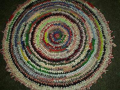 Vtg HAND MADE OLD FASHION CROCHETED RAG RUG ROUND RED MULTI  approx. 36""
