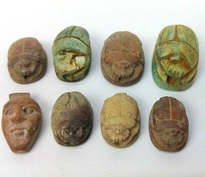 8 Ancient Egyptian Faience Scarab Beetles Figurines with Hieroglyphs BC