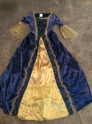 Medieval Princess Renaissance Queen Costume Hoop Dress 8-10 Blue & Gold Cosplay