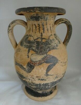 "Antique Greek Pottery Two Handled Vase w/finely painted Scenes. 12  3/8"" tall"