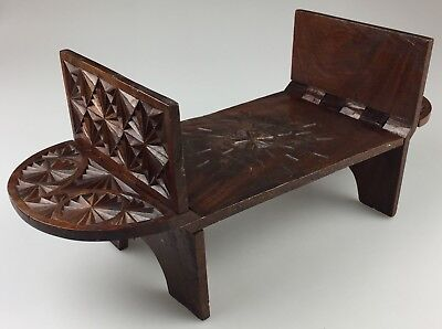 "Vintage 20"" Hand Carved Folding Wood Table Stand Display Tray from India"
