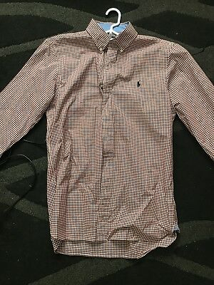 ralph lauren polo mens long sleeve slim fit shirt. Small Check Red And White (M)