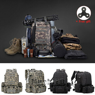 55L Molle Outdoor Military Tactical Bag Camping Hiking Trekking Backpack 2018